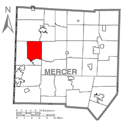 Location of Pymatuning Township in Mercer County
