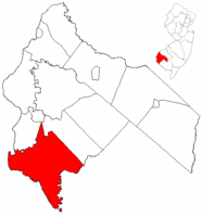 Lower Alloways Creek Township highlighted in Salem County. Inset map: Salem County highlighted in the State of New Jersey.