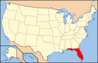 Map of the USA highlighting Florida