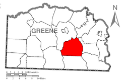 Location of Whiteley Township in Greene County