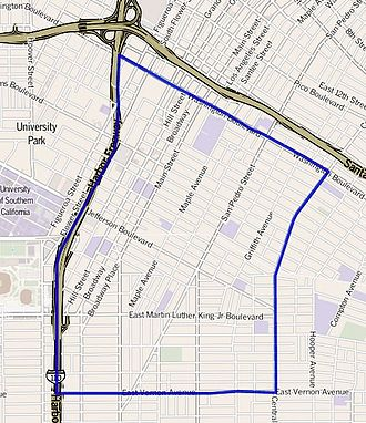 Historic South Central Los Angeles - Historic South Central neighborhood of the city of Los Angeles, as drawn by the Los Angeles Times