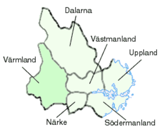 Svealand - Svealand. Värmland was counted to Götaland until the 19th century, which is indicated on the map by a darker shade.