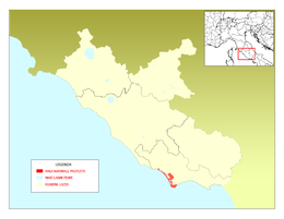 Map showing the location of Parco Nazionale del Circeo
