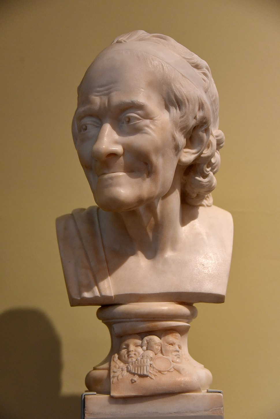 Marble bust of Voltaire, 1870-1900 CE. From France. After Jean-Antoine Houdon. The Victoria and Albert Museum, London