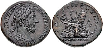 Antonine Plague - A Roman coin commemorating the victories of Marcus Aurelius in the Marcomannic Wars against the Germanic tribes along the Danube frontier in the early 170s AD