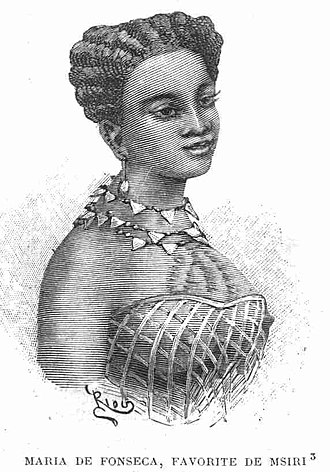 Msiri - Msiri's favourite wife, the Portuguese-Angolan Maria de Fonseca, who died a grisly death at the hand of Msiri's adopted son and successor.