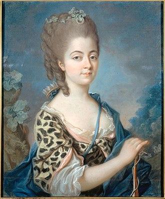 Marie-Aurore de Saxe - Marie-Aurore de Saxe as Diana. Portrait attributed to Adélaïde Labille-Guiard, ca. 1777. Currently displayed in the Musée de la Vie Romantique, Paris.