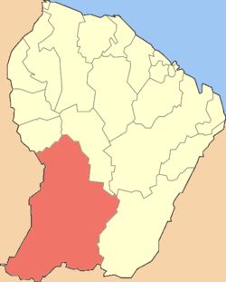 Location of the commune (in red) within French Guiana