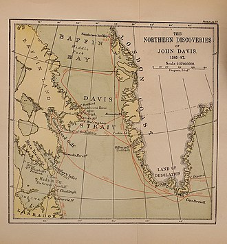 Map showing Davis's northern voyages. From A life of John Davis, the navigator Markham Davis Strait map.jpg