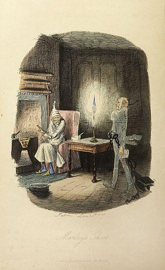 "Ebenezer Scrooge - Ebenezer Scrooge encounters ""Jacob Marley's ghost"" in Dickens's novella, A Christmas Carol"