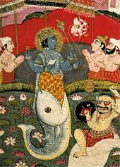Photo of painting showing blue-skinned, 4-armed upper body of man standing in the opened mouth of a fish with bent tail with other, paler men facing him with hands raised together