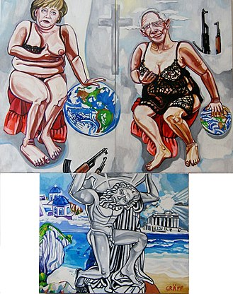 "Greek government-debt crisis - Triptych ""Der griechische Altar. Merkel und Schäuble als falsche Caritas"" shows the German role during the Greek crisis; painting from Matthias Laurenz Gräff (2015)"