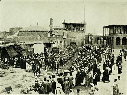 Frederick Stanley Maude with British Indian Army entering Baghdad in 1917. Maude in Baghdad.jpg
