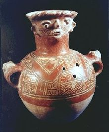 Maya civilization funerary urn figure vase