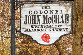 John McCrae - Sign at McCrae's birthplace