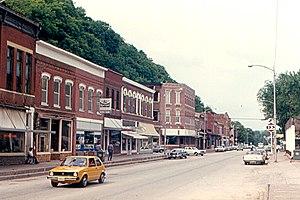 U.S. Route 18 in Iowa - US 18 passing through McGregor in 1975