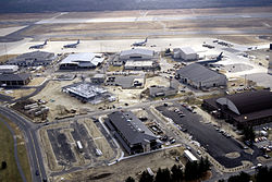 An aerial view of McGuire AFB during 1997.