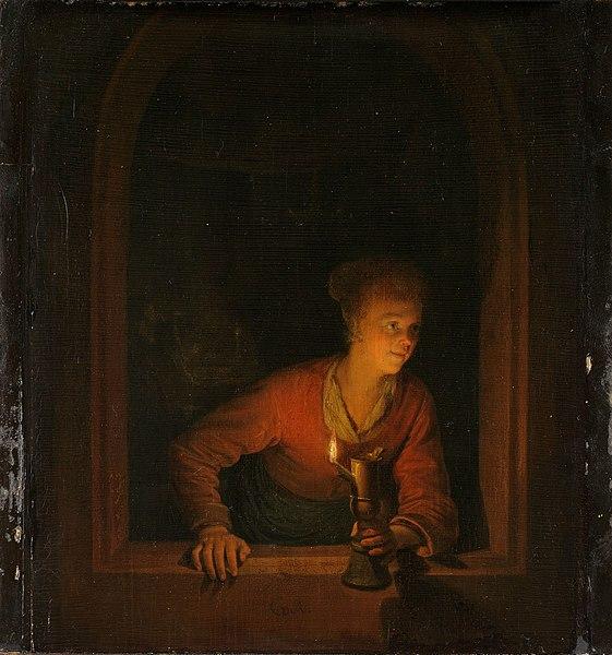 https://upload.wikimedia.org/wikipedia/commons/thumb/0/03/Meisje_met_olielamp_voor_een_venster_Rijksmuseum_SK-A-89.jpeg/561px-Meisje_met_olielamp_voor_een_venster_Rijksmuseum_SK-A-89.jpeg