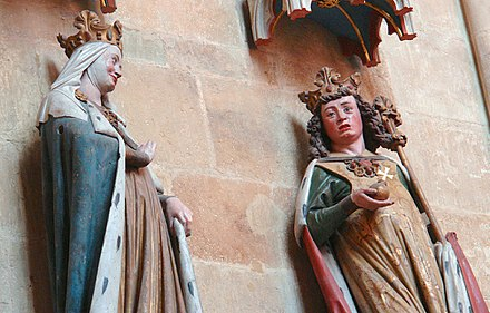 Statues of Otto I, right, and Adelaide in Meissen Cathedral. Otto and Adelaide were married after his annexation of Italy.