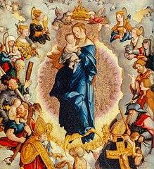 Die durch Engel bekrönte Muttergottes mit Kind im Kreise der 14 Schutzheiligen des Hauses Zimmern