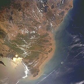 Delta del Mekong visto dallo spazio, febbraio 1996