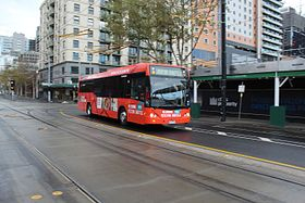 Melbourne Visitor Shuttle (6678AO) in La Trobe St, 2013.JPG