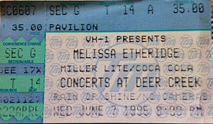 Melissa Etheridge - Melissa Etheridge concert ticket, 1995