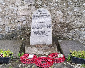 Moelfre, Anglesey - Memorial stone in Moelfre commemorating the street lighting, installed as memorial to those who died in World War II