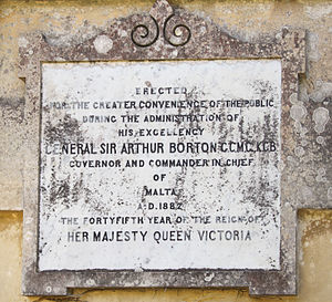 Arthur Borton (British Army officer) - Plaque mentioning Borton at San Anton Palace