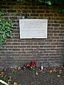 Memorial to Christopher Marlowe on the Eastern Wall around St Nicholas' Church, Deptford Green (I).jpg