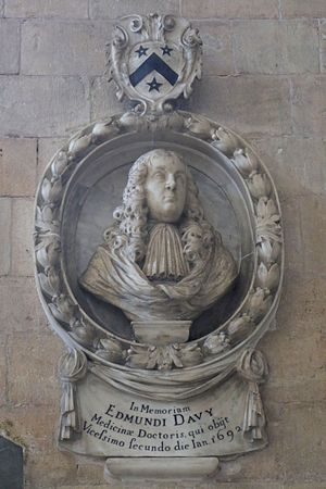 Canonteign - Mural monument to Dr Edmund Davie (1630–1692) in Exeter Cathedral