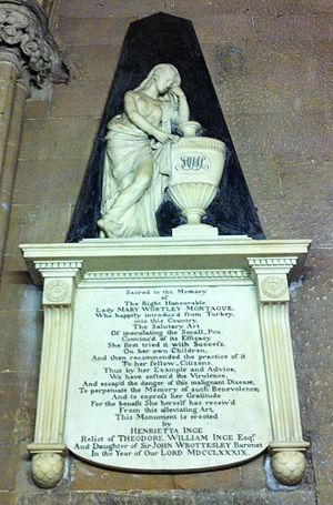 Lady Mary Wortley Montagu - Memorial to the Rt. Hon. Lady Mary Wortley Montague erected in Lichfield Cathedral by Henrietta Inge.