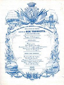 Menù per le celebrazioni dello Statuto Albertino nel 1848 – Torino.