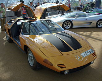 Bruno Sacco - The Mercedes-Benz C111, with its gullwing doors ajar. This Wankel engined concept car was one of Sacco's projects prior to his ascension to chief stylist at Daimler-Benz.