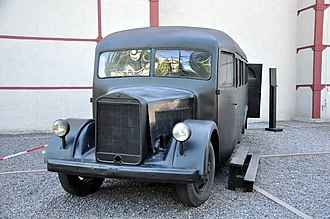 Katyń (film) - A German-made prison bus used by the NKVD for transport of prisoners; the bus was reconstructed for the purpose of the film.