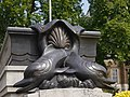 Merchant Seamen's Memorial - fish sculpture at eastern stairs to sunken garden 02.jpg