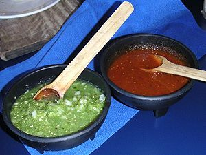 Dipping sauce - Green and red salsas