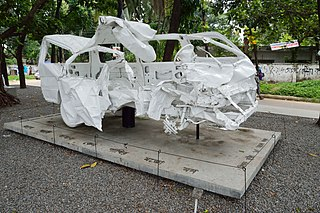 Microbus Wreckage - Dhaka-Cha-13-0302 - Mishuk Munier and Tareque Masud Memorial - University of Dhaka Campus - Dhaka 2015-05-31 2493.JPG