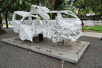 Tareque Masud - The Wreckage Microbus of Mishuk Munier and Tareque Masud is preserved at University of Dhaka Campus.