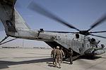 Military staff with the International Security Assistance Force and Regional Command (Southwest) board a U.S. Marine Corps CH-53E Super Stallion helicopter at Camp Bastion in Helmand province, Afghanistan 130729-M-RF397-007.jpg