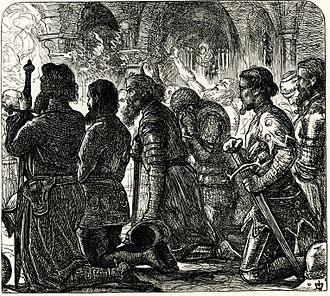 Combat of the Thirty - Beaumanoir's knights kneel in prayer before battle. Illustration by J.E. Millais to Tom Taylor's translation of a Breton language ballad in Barzaz Breiz