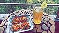 Mini pizza with iced tea made by mr.jpg