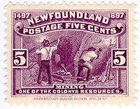 1897 Newfoundland postage stamp, the first in the world to feature mining.