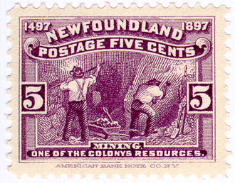 History of Newfoundland and Labrador - 1897 Newfoundland postage stamp, the first in the world to feature mining
