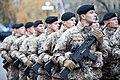 Ministru prezidents Valdis Dombrovskis vēro Rīgas garnizona vienību militāro parādi pie Brīvības pieminekļa (8175006514).jpg