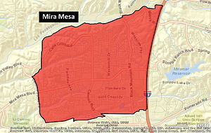 Mira Mesa, San Diego - The Mira Mesa neighborhood, as defined by the San Diego Police Department