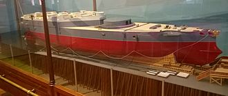 HMS Victoria (1887) - Scale model of Victoria, as she was when launched in 1887 from Elswick, located in the Discovery Museum in Newcastle-Upon-Tyne