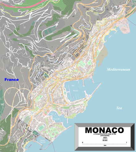 Enlargeable, detailed map of Monaco
