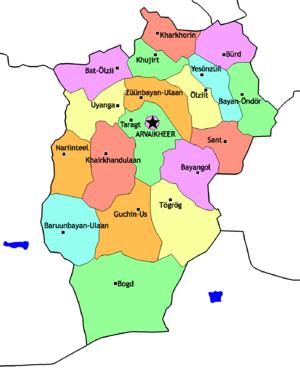 Övörkhangai Province - Sums of Övörkhangai