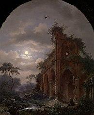Monk Meditating near a Ruin by Moonlight